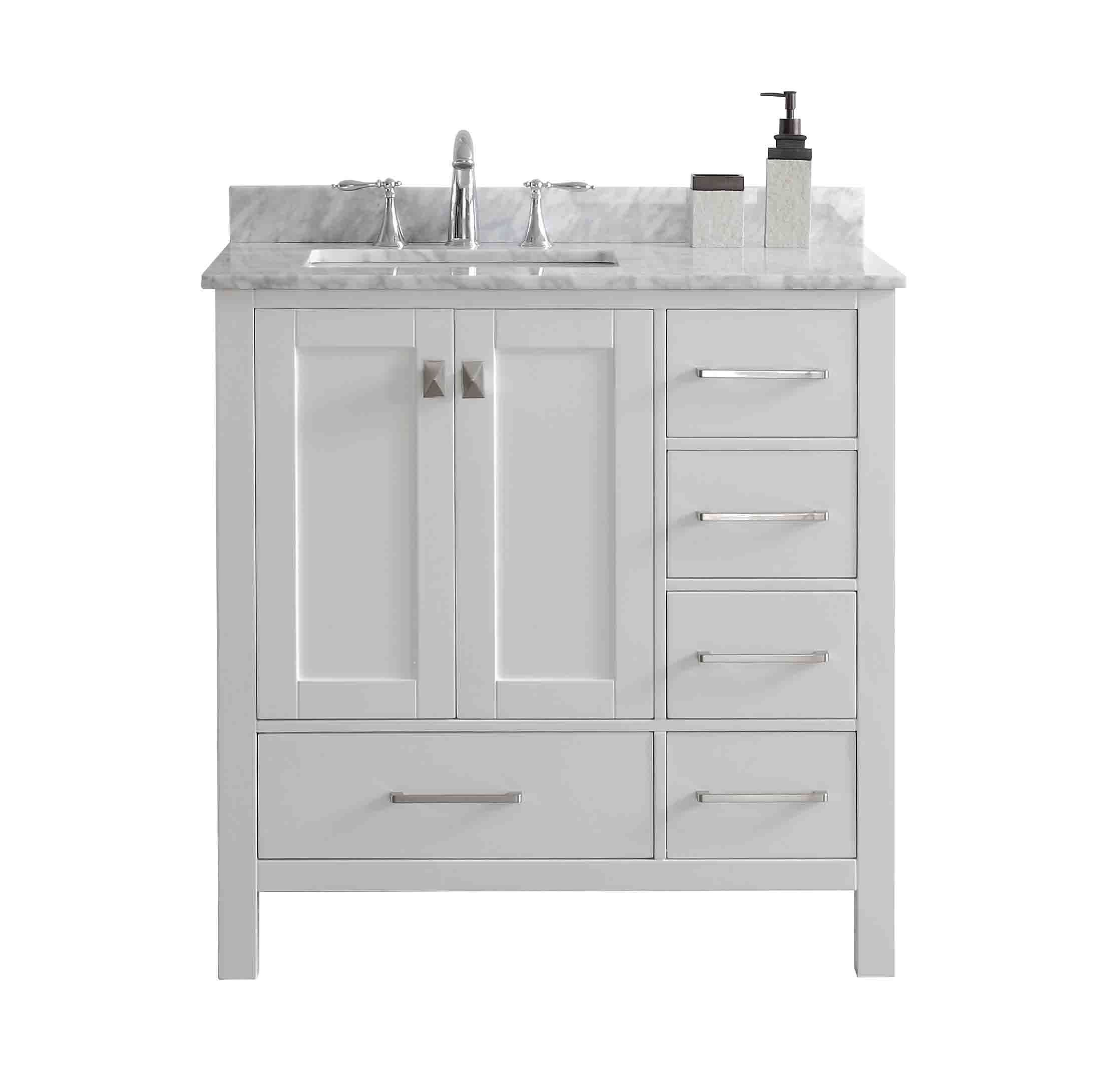 """Eviva Aberdeen 36"""" Transitional White Bathroom Vanity With"""