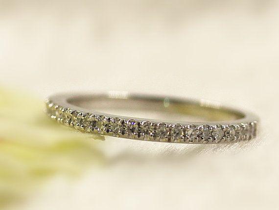 French Pave Diamond Wedding Band Half Eternity Anniversary Ring 14K White Gold