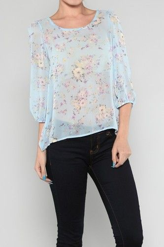Blue Floral Chiffon Top New Boutique s Small | eBay