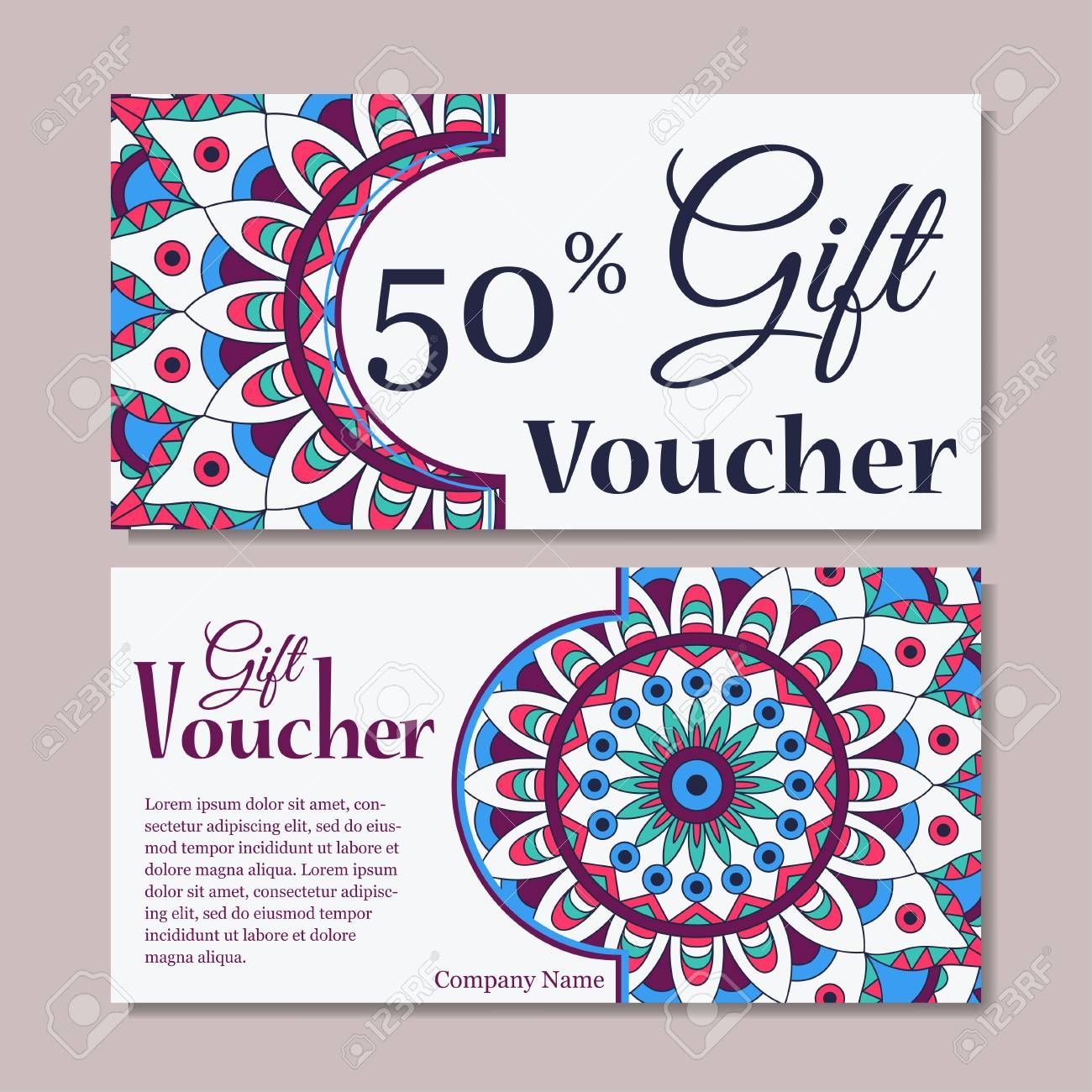 Gift Voucher Template With Mandala. Design Certificate For