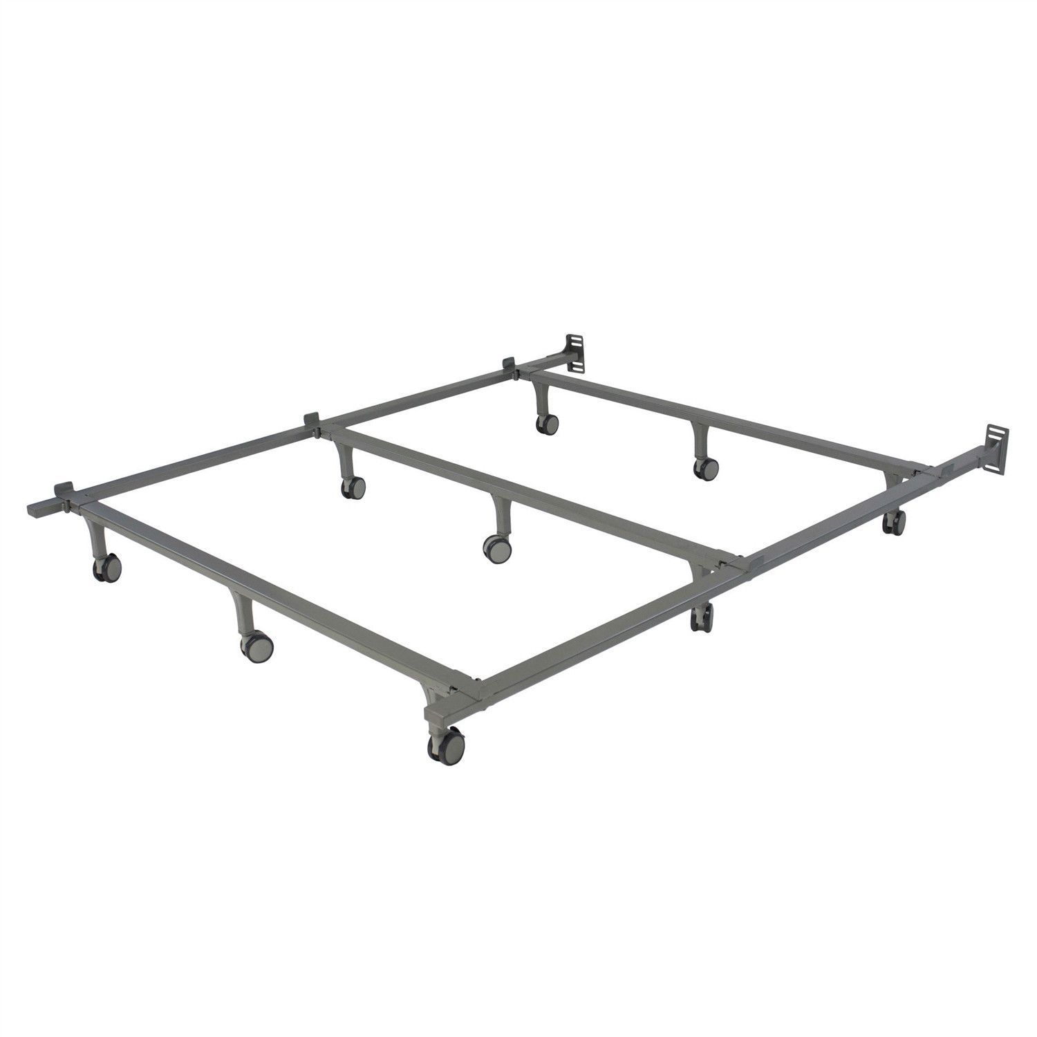 Queen size 9Leg Metal Bed Frame with Rug Rollers Caster Wheels