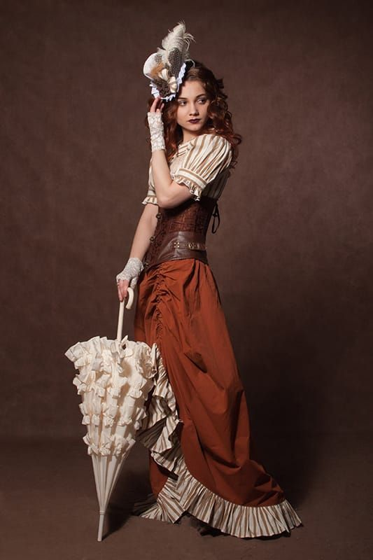 Steampunk Fashion Women Dresses Warm Steampunk Color P...