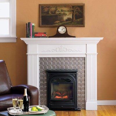 Tin Tile Fireplace Surround Ceiling Tile Ideas Pinterest Tiled Fireplace Fireplace