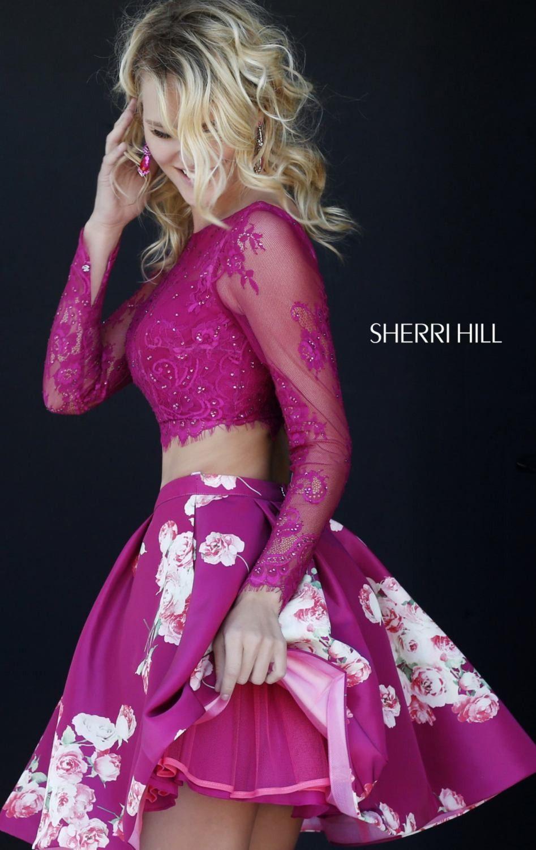 Sherri Hill 32323 Long Sleeve Crop Top Floral Homecoming Dress ...