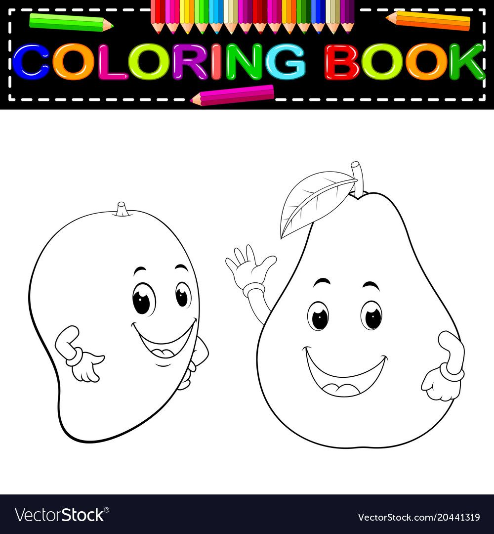 Mango And Avocado With Face Coloring Book Vector Image On Vectorstock In 2020 Coloring Books Cartoons Vector Vector Game