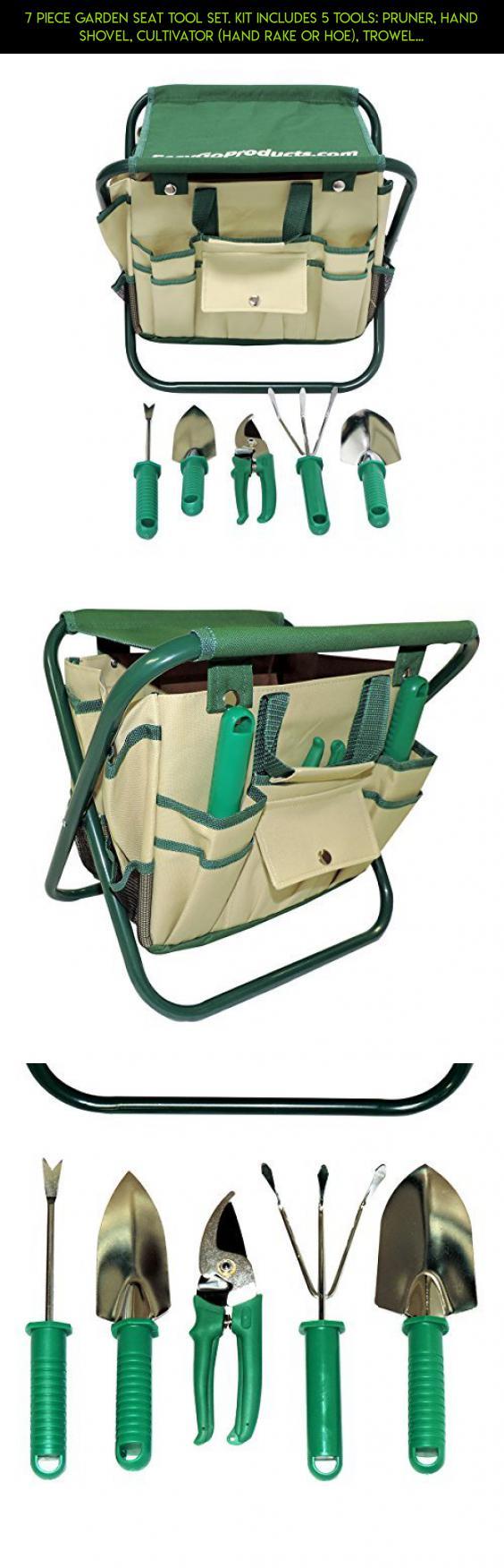 7 Piece Garden Seat Tool Set. Kit Includes 5 Tools: Pruner, Hand Shovel