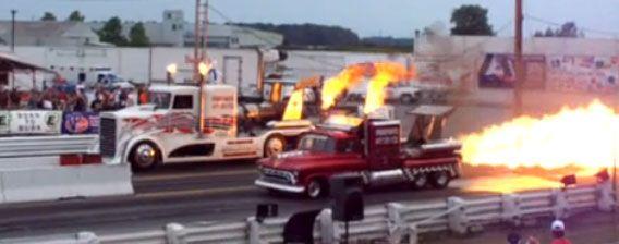Thundering roar, burning body. Beat out 600 km km per hour amazing monster truck race