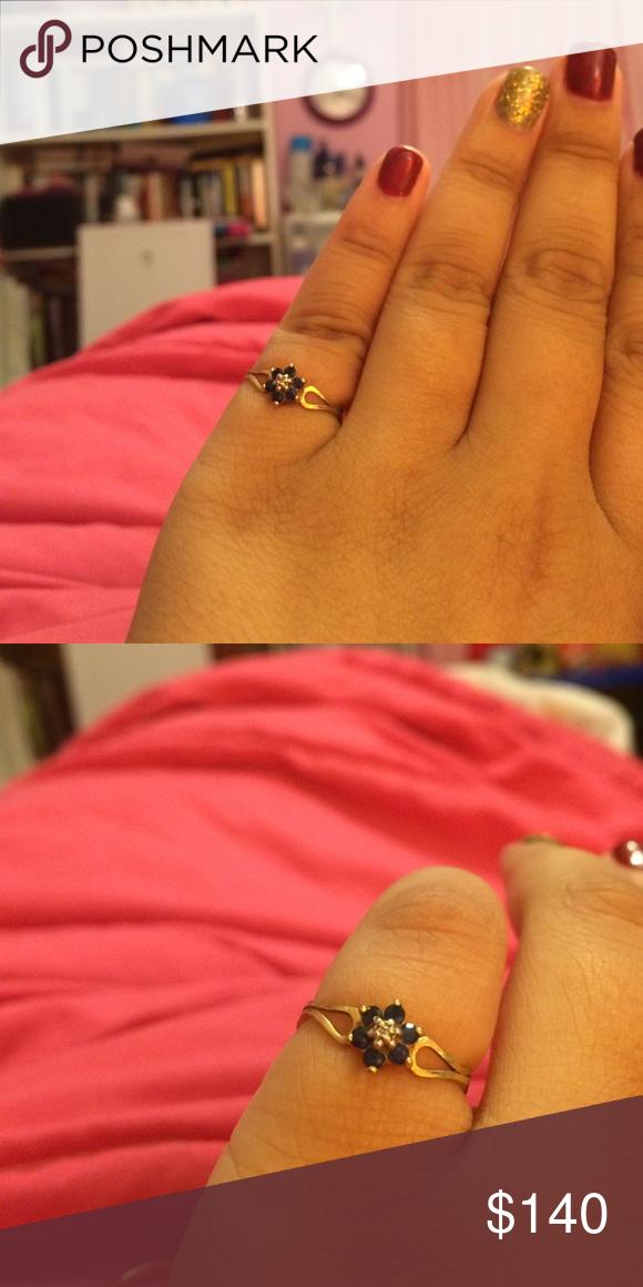 Black Stone Flower 10k Gold Ring 10k Gold Ring Black Stone Ring Black Stone