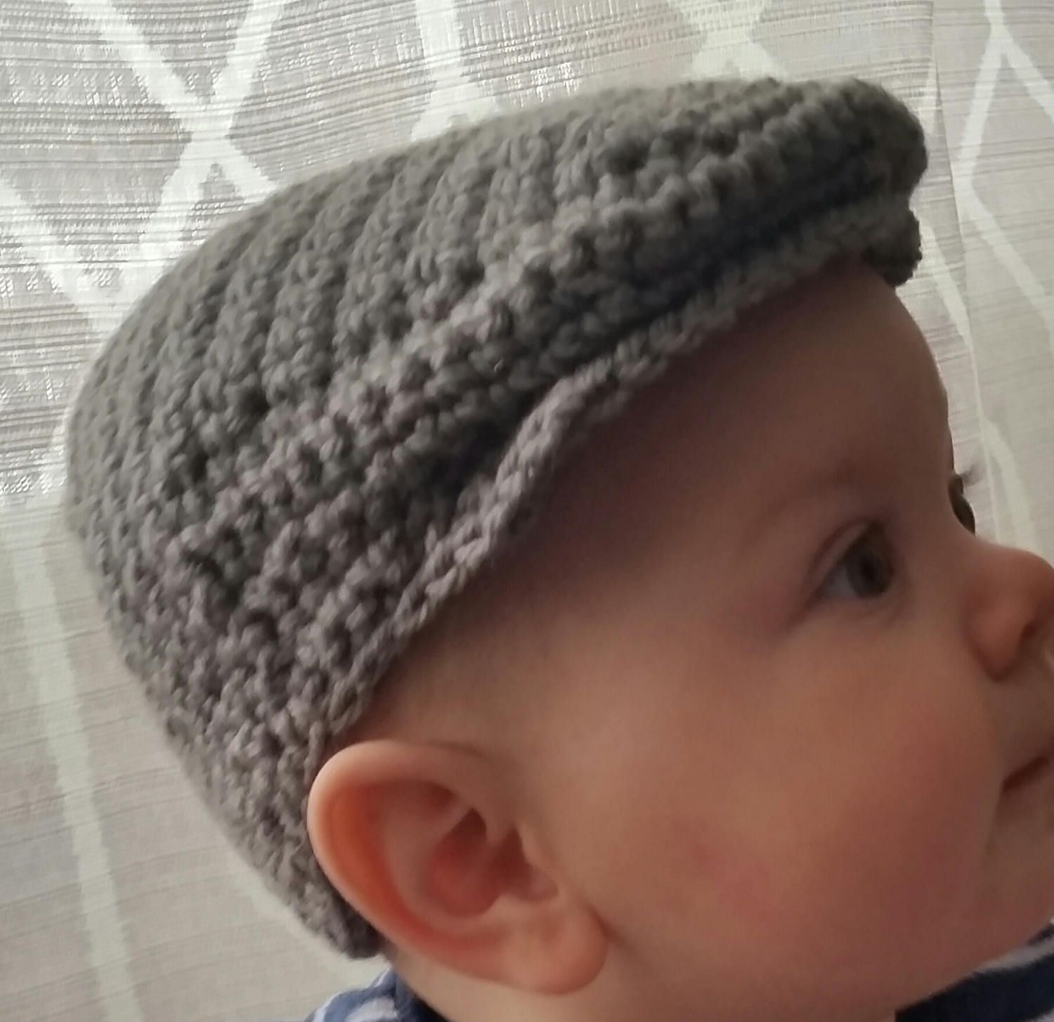 Crochet Scally Cap - Flat Cap - Driver\'s Cap - Infant - Baby ...