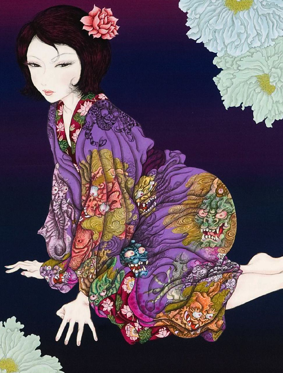 The Leaning Forward Pose And The Flowers In The Corner In 2020 Japanese Artwork Illustration Art Japan Art