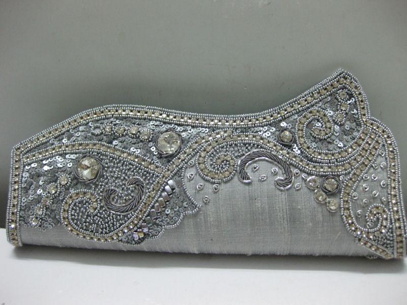 Beads Crystal Wedding Silver Clutch