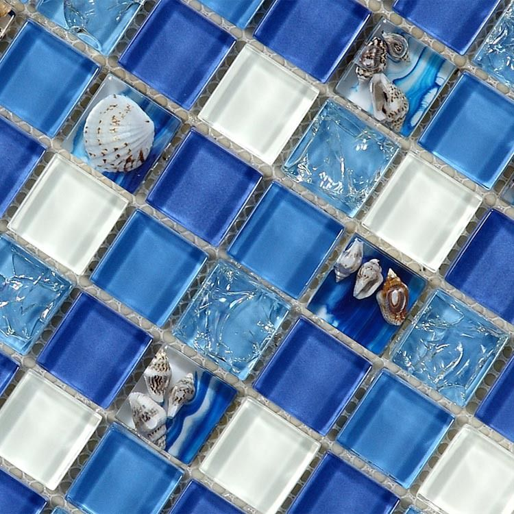 Natural Sea Shell In Blue Glass Mosaic Tiles 12x12 Wall And Floor Mosaic Tile For Bathroom And Kitchen Glass Mosaic Tiles Bathroom Wall Tile Mosaic Floor Tile