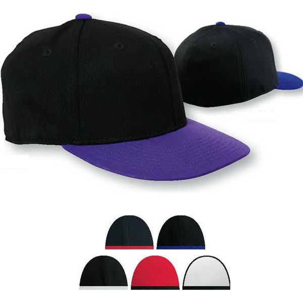 bdc037c48b5 Flexfit (R) 210 Fitted flat visor cap. Made with 83% acrylic