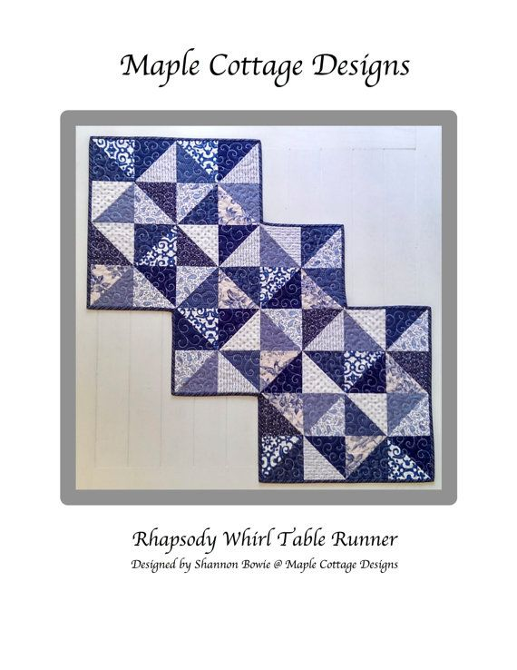 Rhapsody Whirl is a PDF Quilt Pattern thats super fast to make!  This beautiful pinwheel table runner quilt pattern was designed by myself for Maple Cottage Designs incorporating a zigzag edging. * High quality instructions include Fabric Requirements, Cutting Instructions, Block Assembly, Binding Instructions and Diagrams. * The finished size measures 23 x 46 but can easily be lengthened. It has endless possibilities by changing up the color placement. Use up those scraps, charm packs, or…
