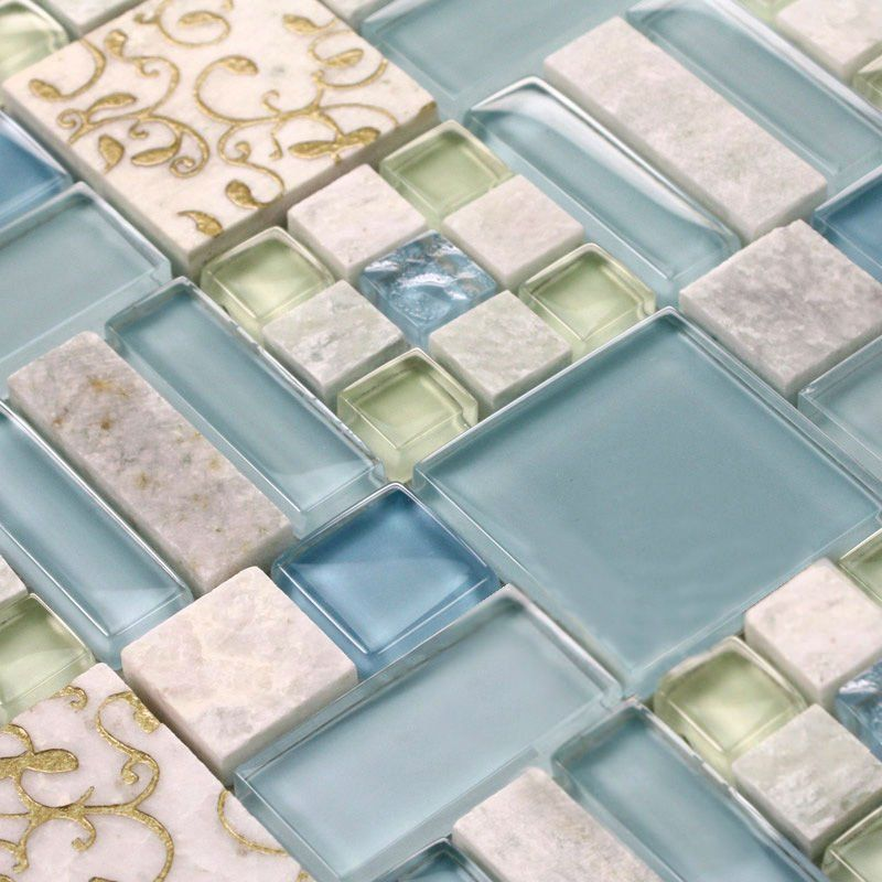 Marble Tile Sheets Square Stone Mosaic Art Wall Kitchen
