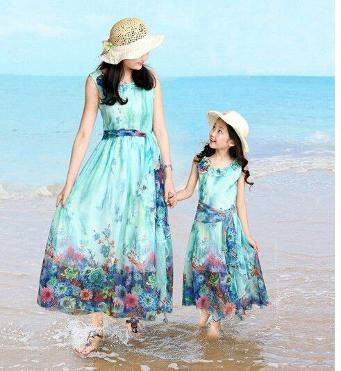 Mom/&Baby Girl Family Clothes Floral Women Kids Party Maxi Dress Beach Sundress