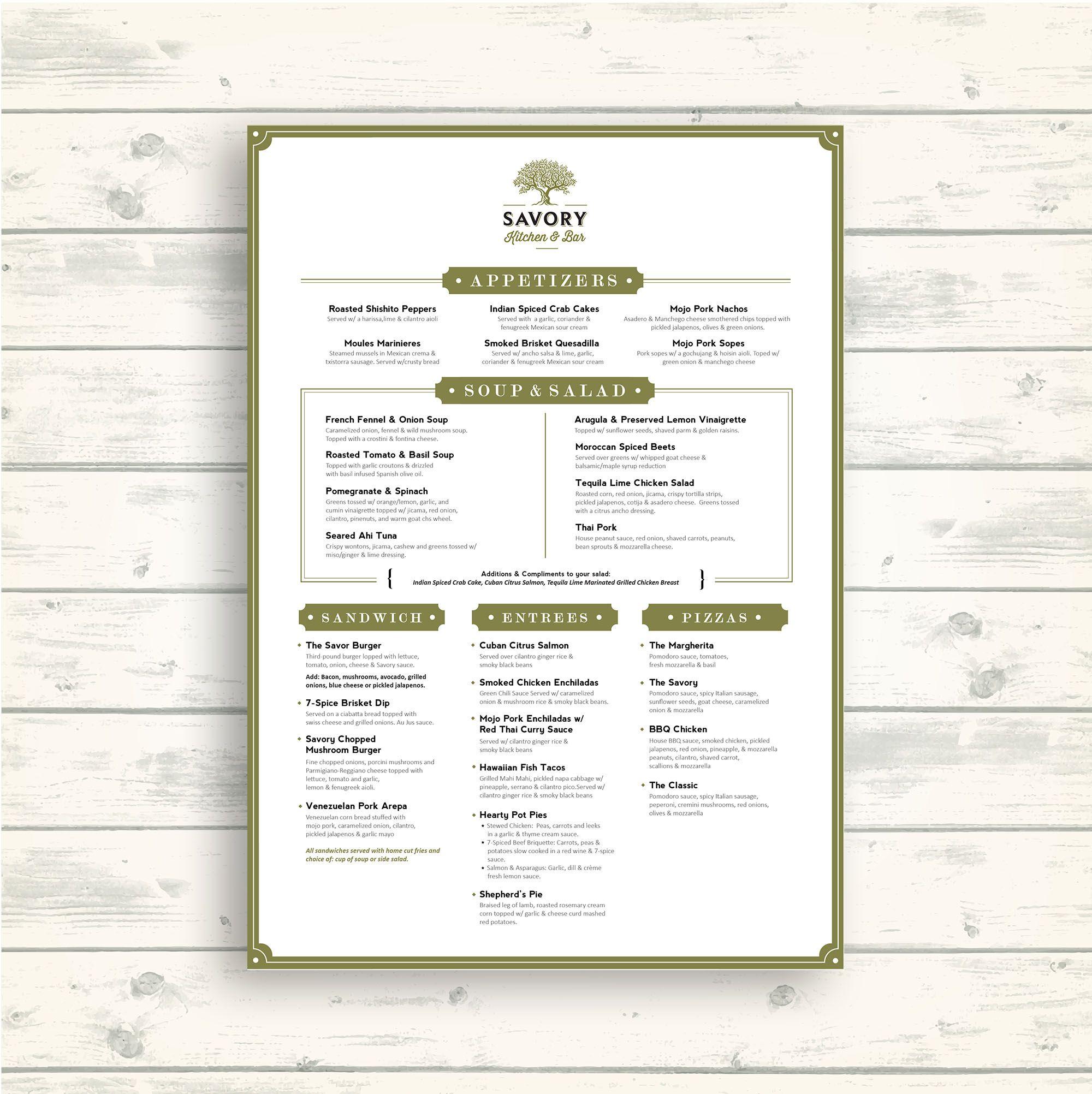 Designs Savory Kitchen Bar Menu Menu Contest