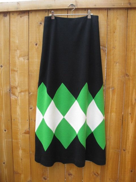 1970s Maxi skirt wool jersey green white diamonds by LuLusFrouFrou, $20.00