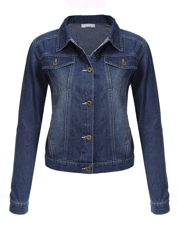 Women S Boyfriend Denim Jackets Long Sleeve Loose Jean Coats Bule Ci1894r8gd8 Long Sleeve Denim Jacket Denim Jacket Coats Jackets Women [ 1500 x 1154 Pixel ]