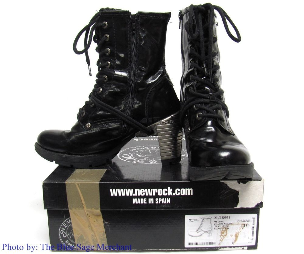 M.TR001 CHAROL NEGRO BLACK SIZE 39 SPAIN 8 US NEW ROCK TRAIL STEEL HEEL BOOTS #NewRock #PlatformsWedges #Party
