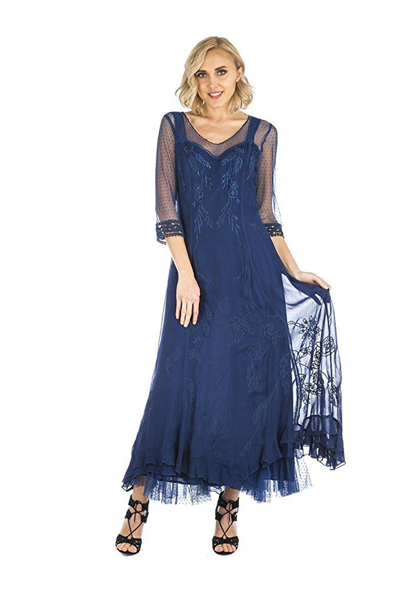 Nataya CL-068 Celine Vintage Style Gown in Royal Blue