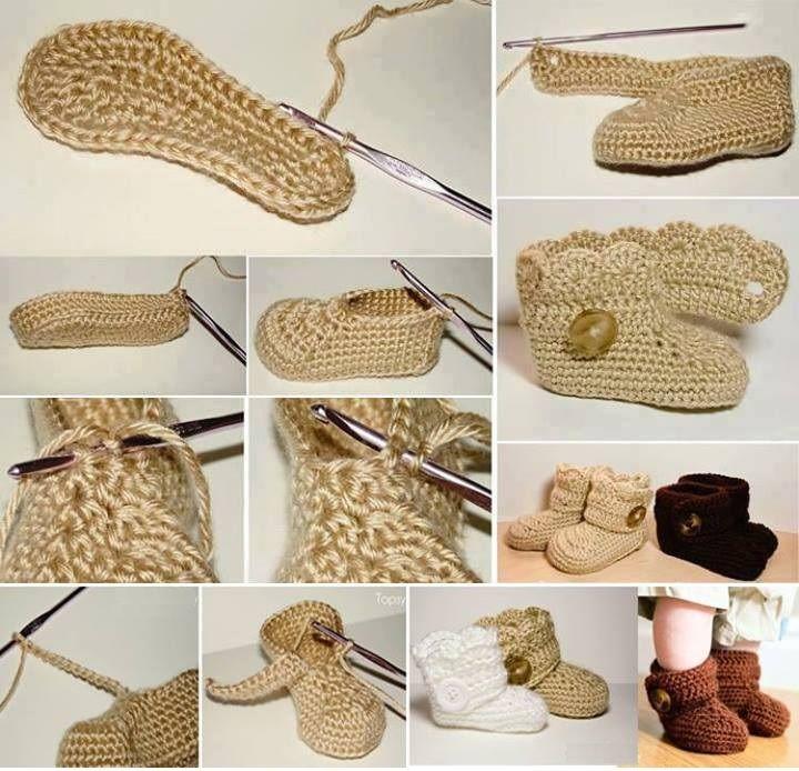 Patrones Crochet: Botitas de Crochet para Bebe Paso a Paso | peucos ...