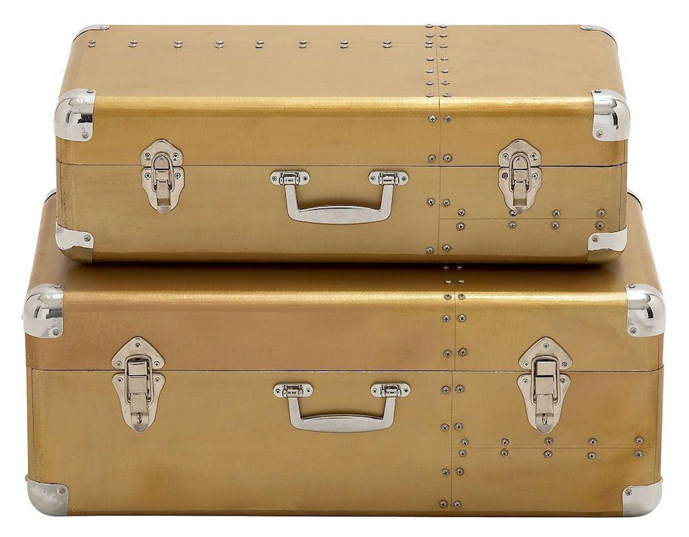 Great Riveted Style Aluminum Wood Suitcase Storage Box Set Of 2