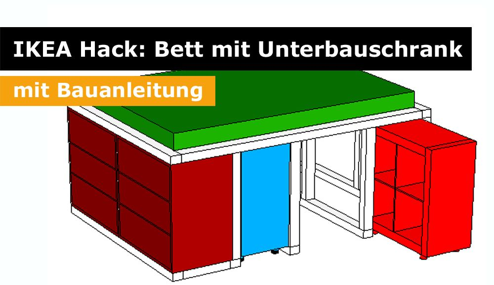 ikea hack aus dem kallax regal und der malm kommode wird ein bett mit unterbauschrank i 2018. Black Bedroom Furniture Sets. Home Design Ideas