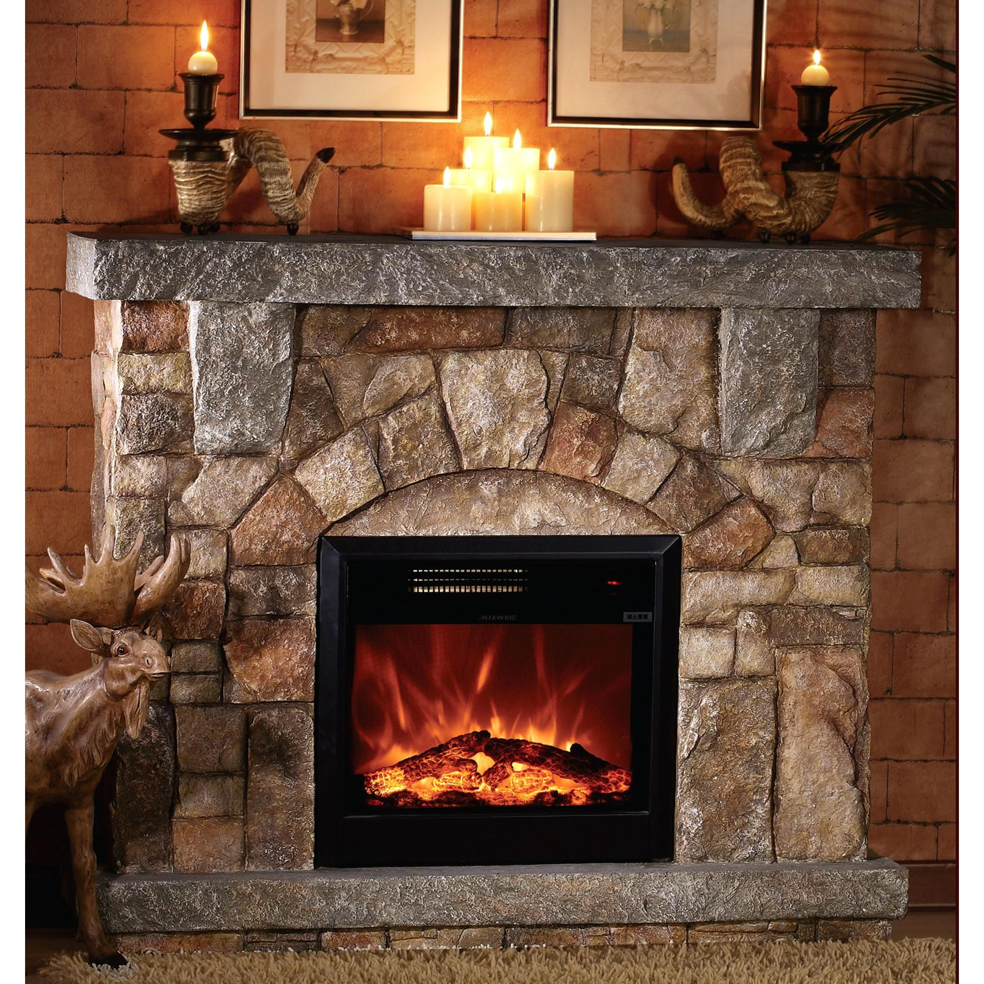 Creative Stone Electric Fireplace Tv Stand Also Dark Brown