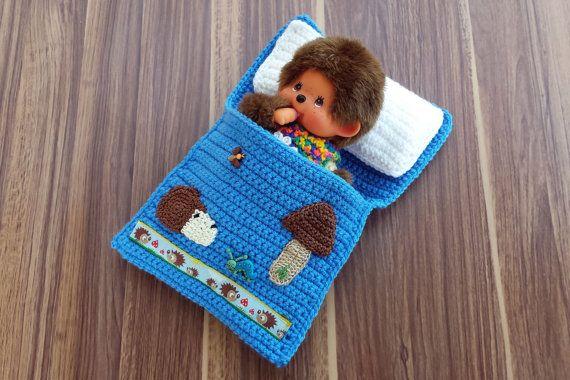 Puppenbettchen Igel Und Steinpilz Schlafsack Für Monchichi 20 Cm
