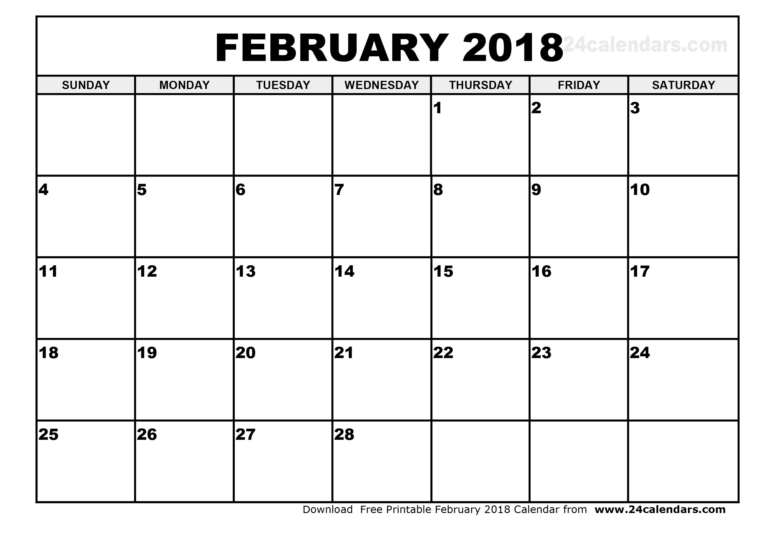 February 2018 Calendar Printable Template Pdf With Holidays Usa Uk