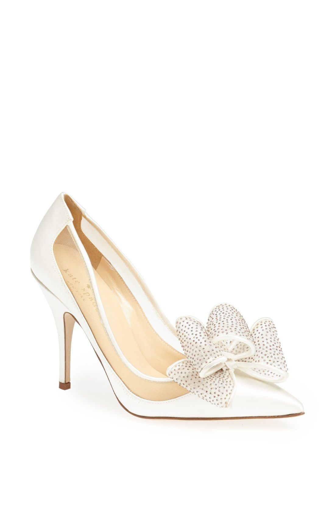 Lovely pointed-toe pump! Wear this white satin Kate Spade bow shoe to a