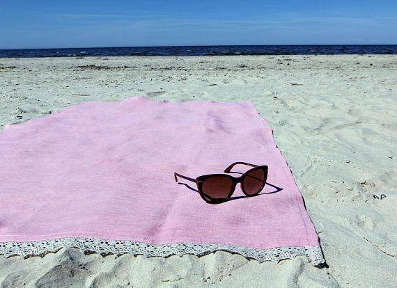 Beach Towel 100 Linen 35x57 Pale Pink Picnic Blanket Sauna Beach Towel Linen Picnic Blanket