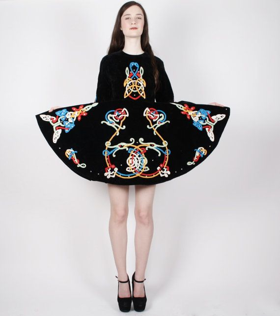 56a03a452 Vintage Irish Dance Dress - Irish Dance Costume - Black Velvet Dress ...