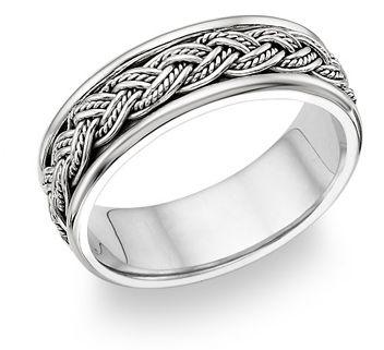 Mens Platinum Wedding Rings Fisherman Knot Ring Strongest