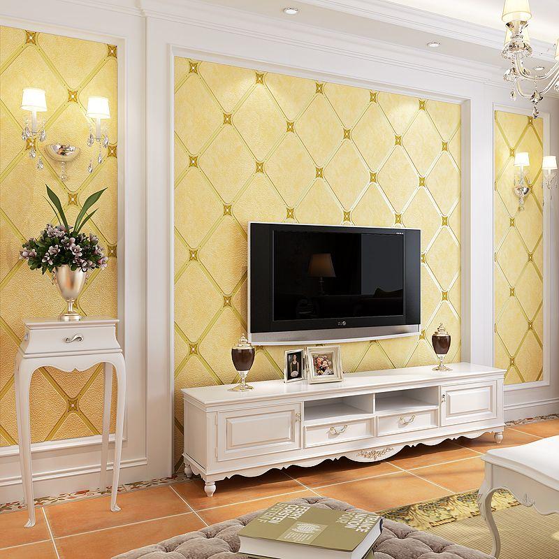 European Style 3D Diamond Lattice Non-woven Wallpapers For Living ...