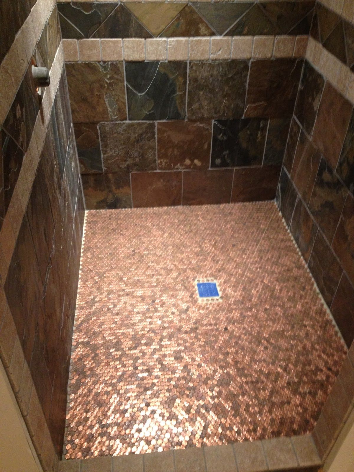 Copper floor made out of pennies so cool and easy diy for Copper tile pennies