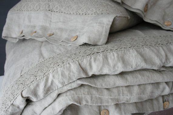 Linnen Dekbed Slaapkamer : Linen duvet cover. set of duvet cover and pillowcases with lace
