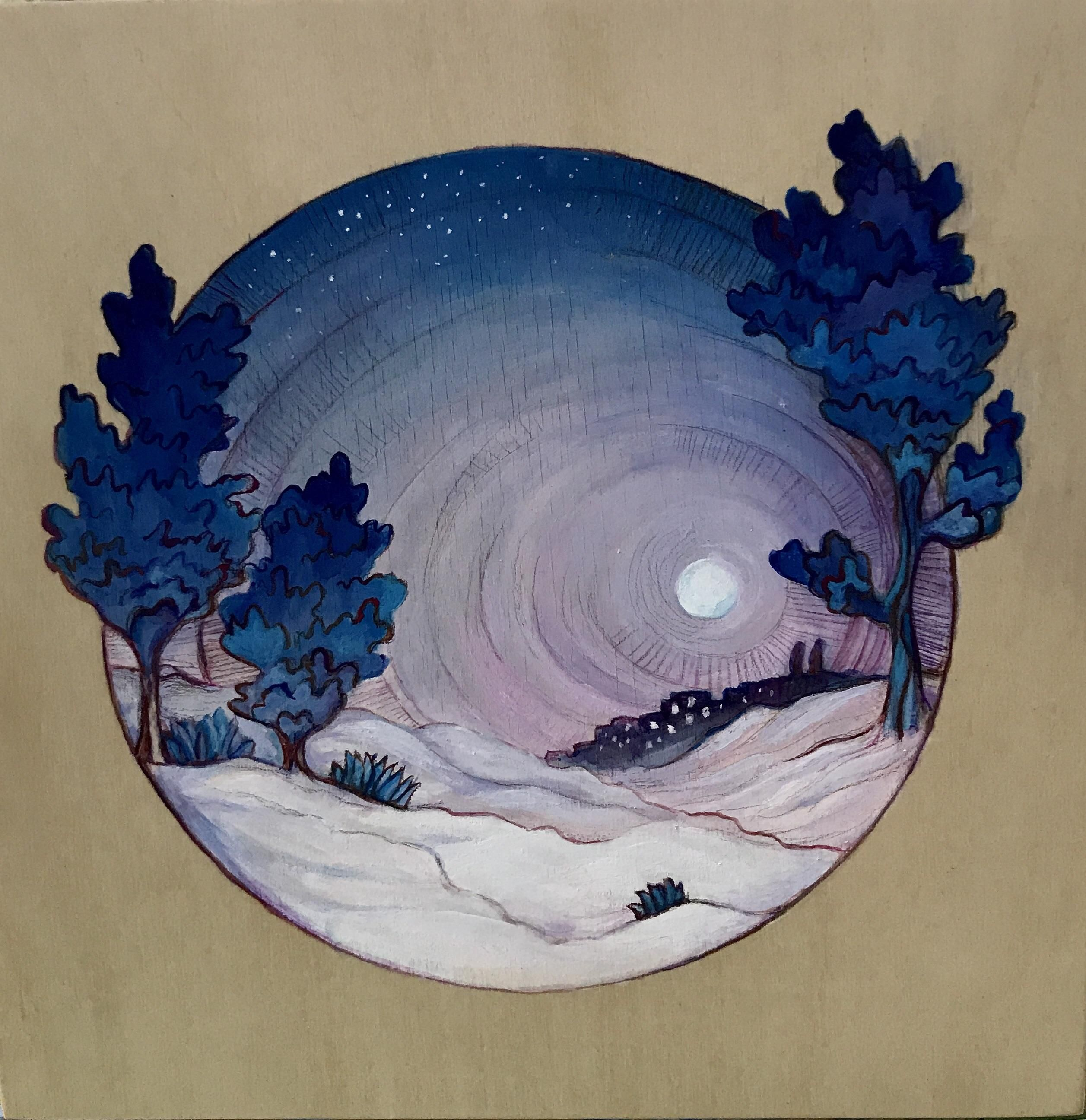 Desert Moon gouache and colored pencil on wood 10 x 10 ...