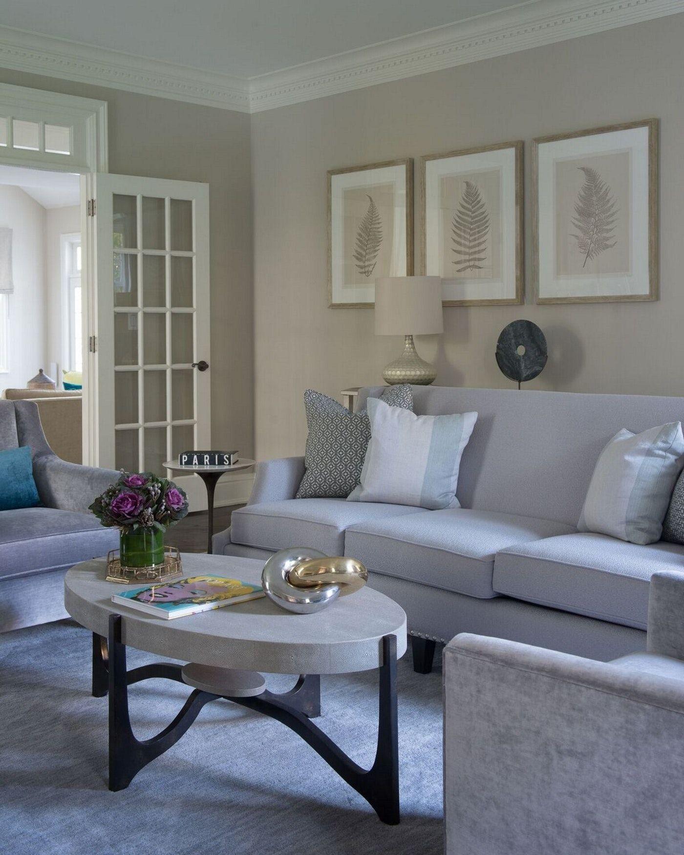 Relax Living Room Beige Walls White Trim Soft Blue Furnishings
