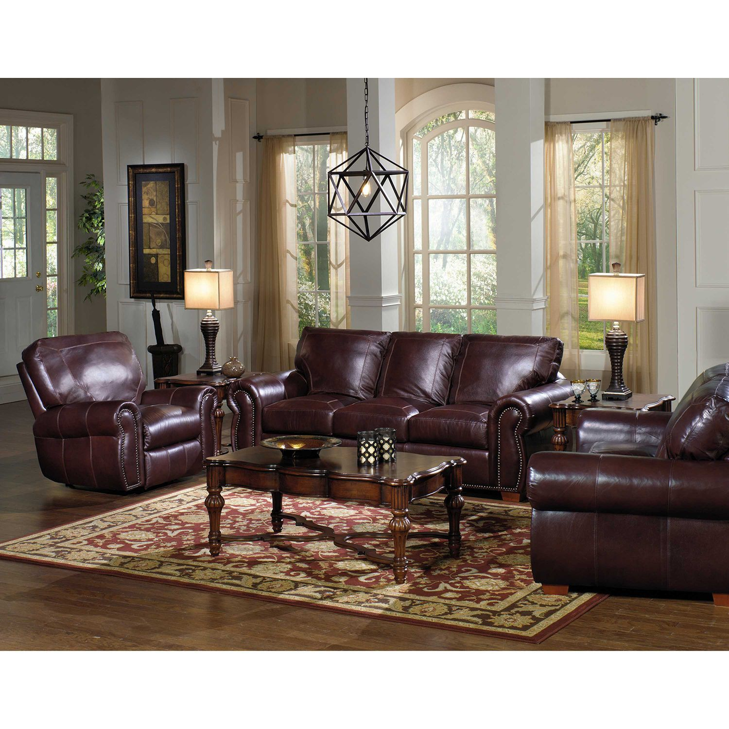 Decorate your castle in quintessential elegance with the - Leather furniture for small living room ...