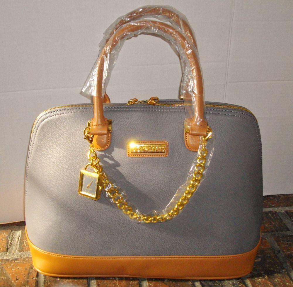 Joy Amp Iman Genuine Leather Timeless Chic Leading Lady Bag Gray Handbag Purse New Joyiman