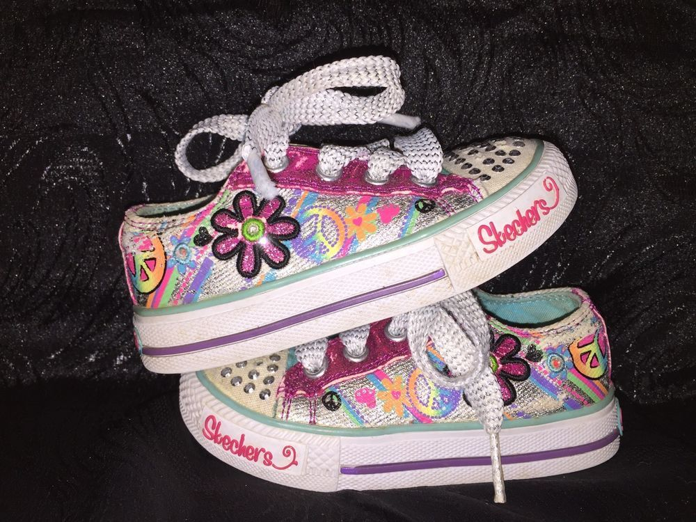 Skechers Twinkle Toes Toddler Girls Sz 6 Light Up Floral Peace