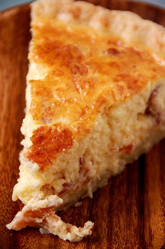 Bacon & Cheese Quiche...i just use a pre-made roll-out pie crust, then I whisk together about 5-7 eggs and 1-2 cups milk, and pour it into the pie crust.  I add about 1-2 cups shredded cheese (my fav is a mexican blend), about 1/4 cup parmesan cheese, and 3-5 slices of crumbled bacon.  Pop it into the oven at 350 degrees for 40-60 min, until a fork poked into the center comes out clean.
