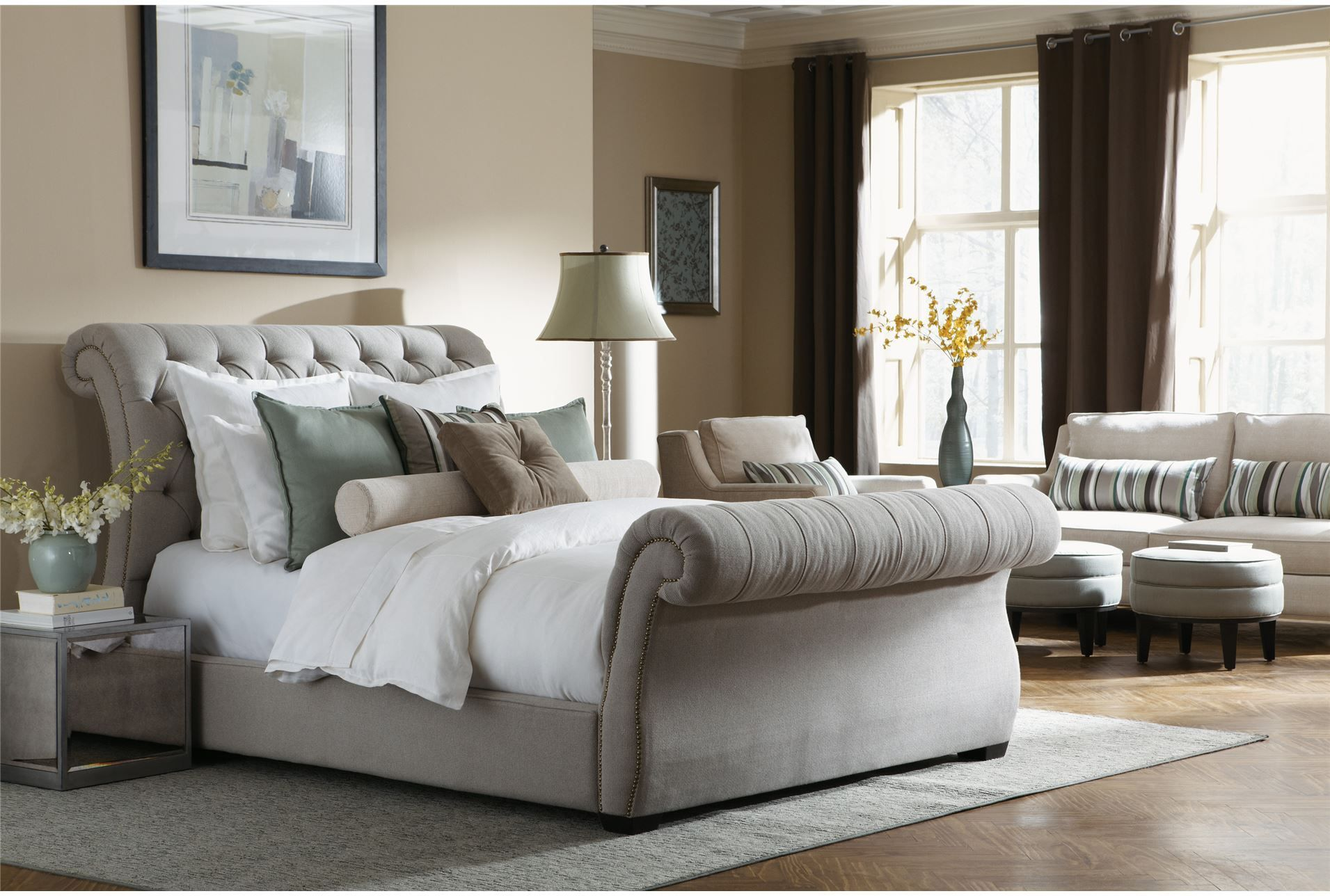 Tufted sleigh bed fabric upholstery king bed with soft grey tufted headboard and luxurious Master bedrooms with upholstered beds