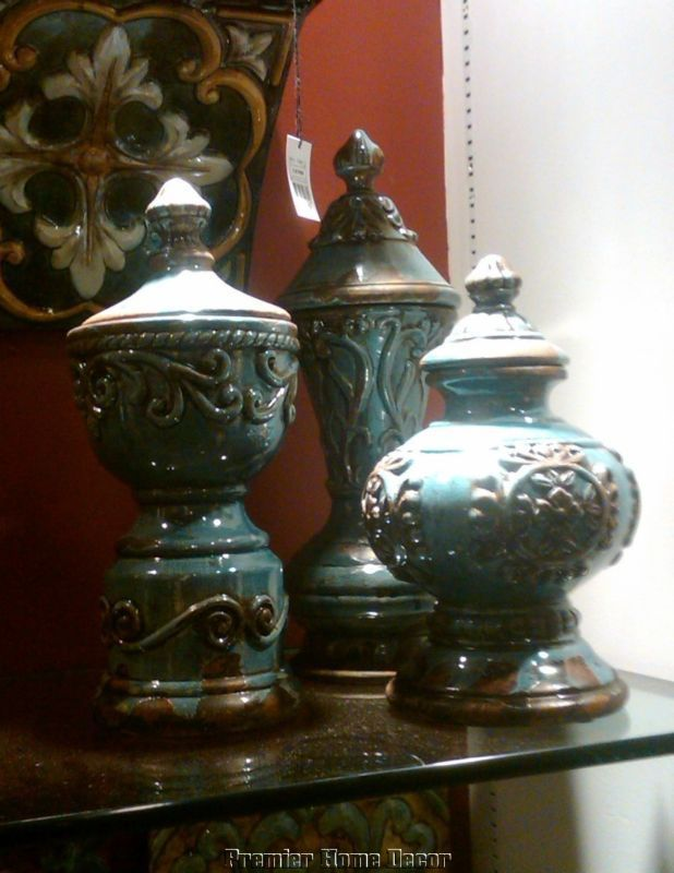 Tuscan St/3 Distressed Jar Vases Embossed Design   Premier Home Decor