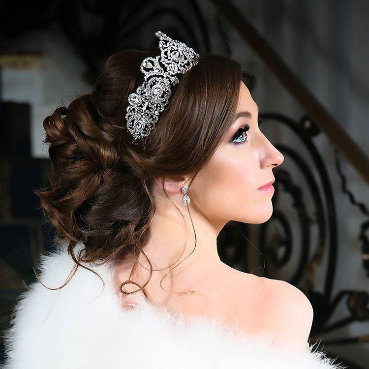 Regal Wedding Day Hair Make Up And Bridal Tiara Glamorous Custom Designed Bridal Crown By Brid Bridal Hair Accessories Wedding Hair Flower Crown Bridal Hair
