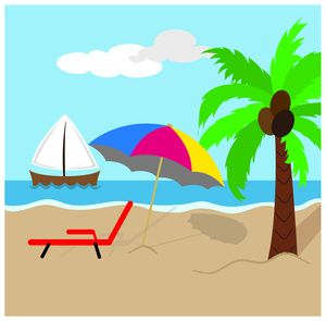 beach clipart image tropical island scene with coconut palm tree rh pinterest ca beach scene clip art black and white beach scene clip art free