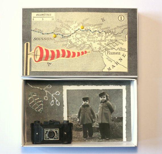 art box:petit diorama réalisé dans une boîte d'allumettes.