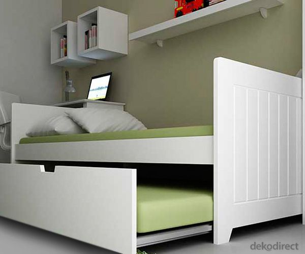 Cama nido madera color blanco en kit camas pinterest for Camas blancas de madera